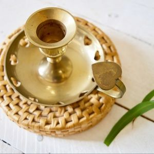 Vintage Brass Candle Holder with Heart Details